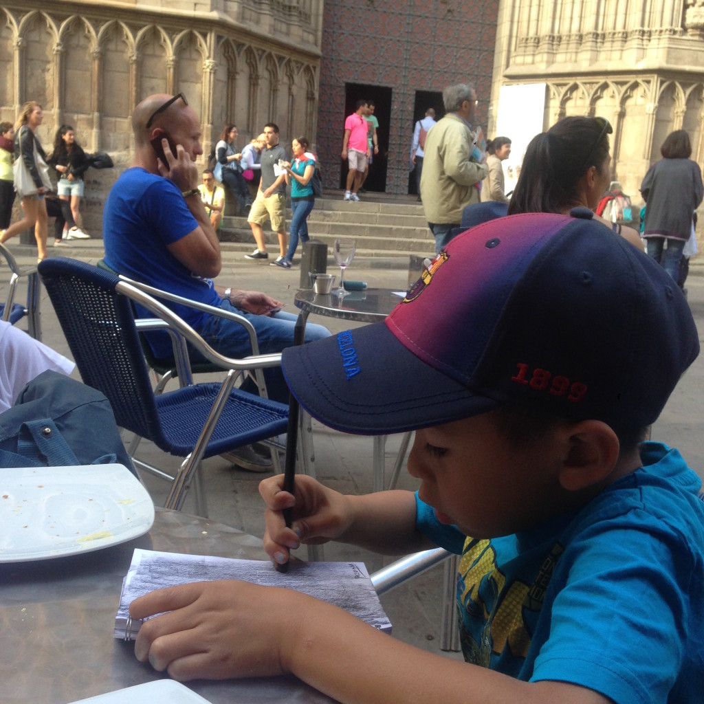 drawing in a plaza