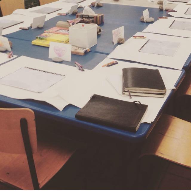Book of Hours Workshop set up