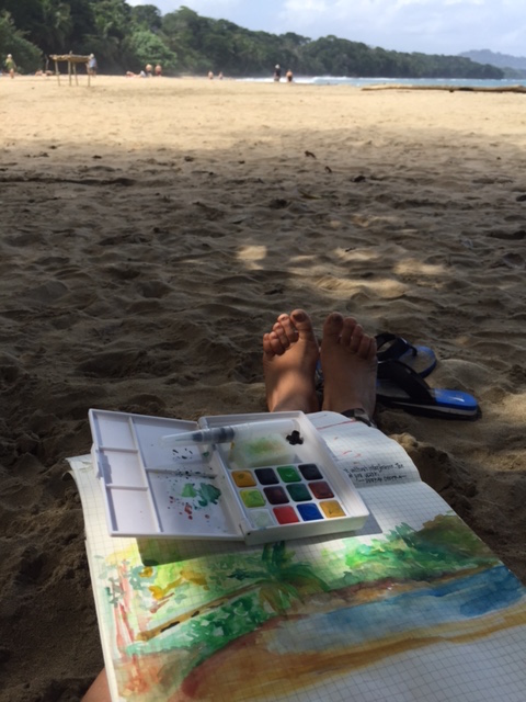 watercolour painting at the beach